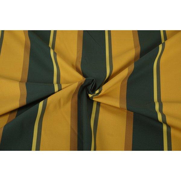 Popeline stof met brede strepen groen en geel