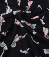 Viscose blauw met kolibries