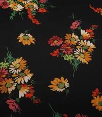 Viscose zwart met boeketjes gele en rode bloemen