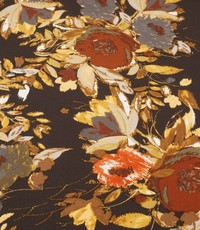 Poly tricot gebloemd bruin