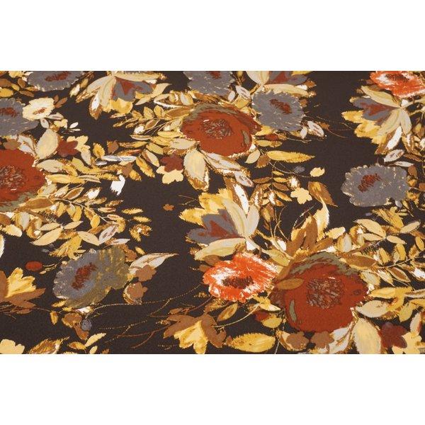 Poly tricot stof gebloemd bruin