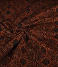 Gebreid zwart met bruin slangenpatroon