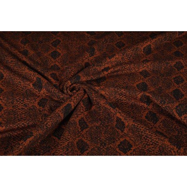Gebreide stof zwart met bruin slangenpatroon