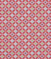 Popeline met abstracte print rood