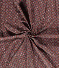 Popeline met abstracte print groen