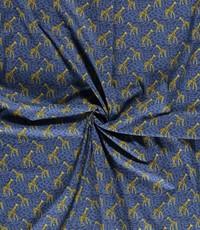 Popeline met girafjes blauw