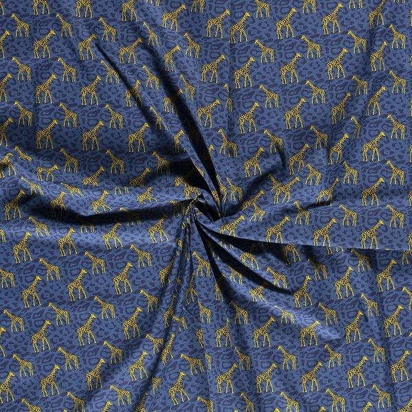 Popeline stof met girafjes blauw