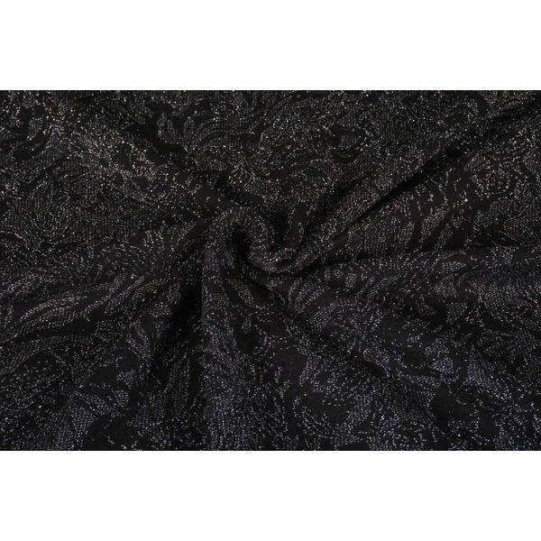 Gebreide stof zwart met zilveren lurex bladeren