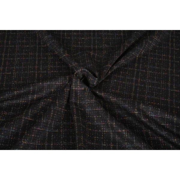 Punta di Roma stof zwart met fijne veelkleurige streepjes