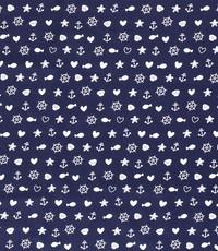 Popeline blauw met zeemotiefjes