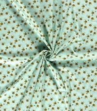 Popeline groen met bijtjes