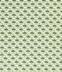 Popeline groen met wit waaiermotief