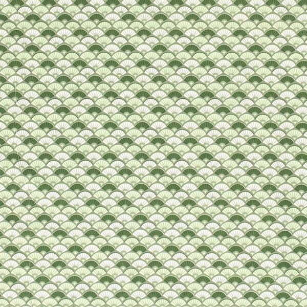 Popeline stof groen met wit waaiermotief