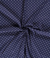 Popeline blauw met ankertjes