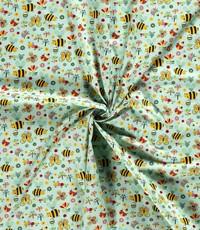 Popeline groen met bijtjes en vlinders