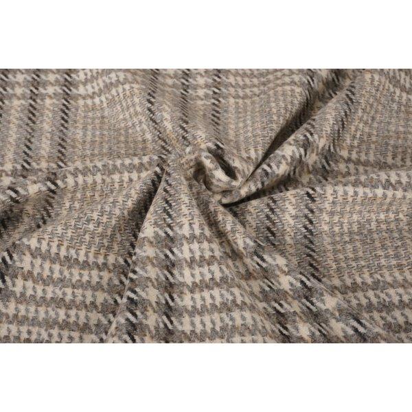 Wollen stof wit met grijs strependessin en oker accent