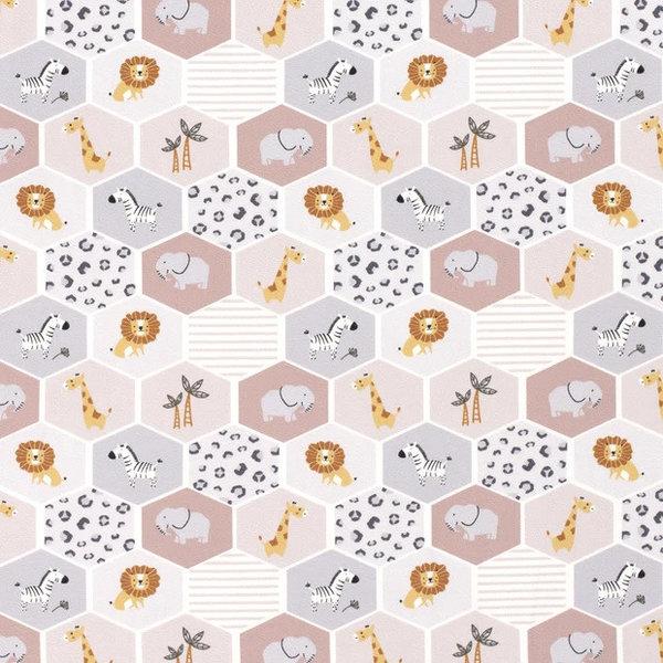 Tricot stof zeskant lieve diertjes oudroze