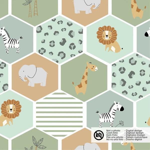 Tricot stof met zeskant lieve diertjes oudgroen