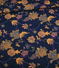 Polystretch paars met okergeel bloemdessin