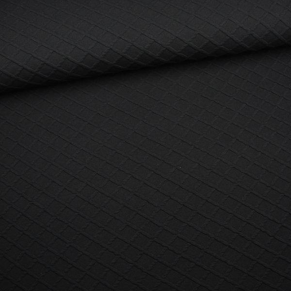 Zwarte gebreide stof ruit met relief