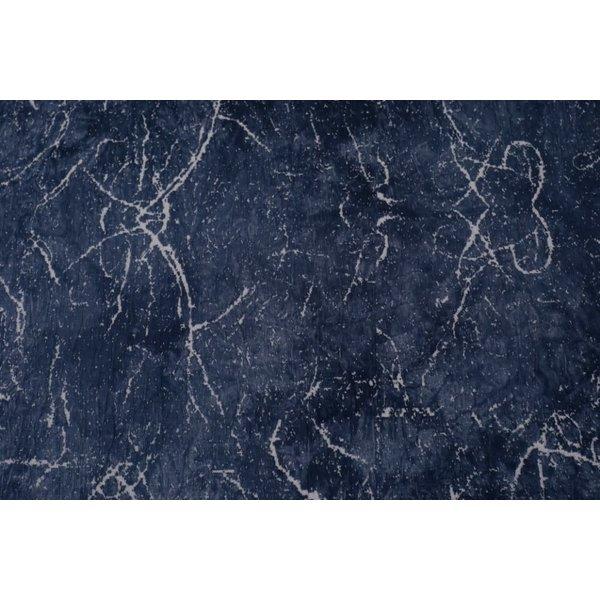 Gebreide stof jeansblauw met tie dye patroon