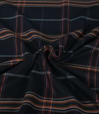 Gabardine stretch ruit donkerblauw