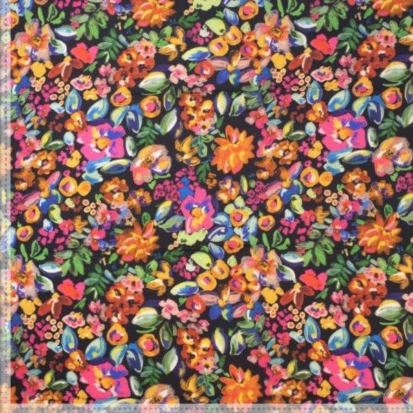 Viscose stof met digitale bloemenprint