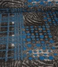 Gekookte wol met grijs en blauw reliëf