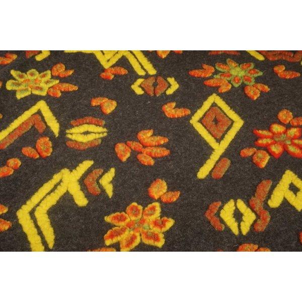Gekookte wollen stof antraciet grijs met gele en oranje figuren