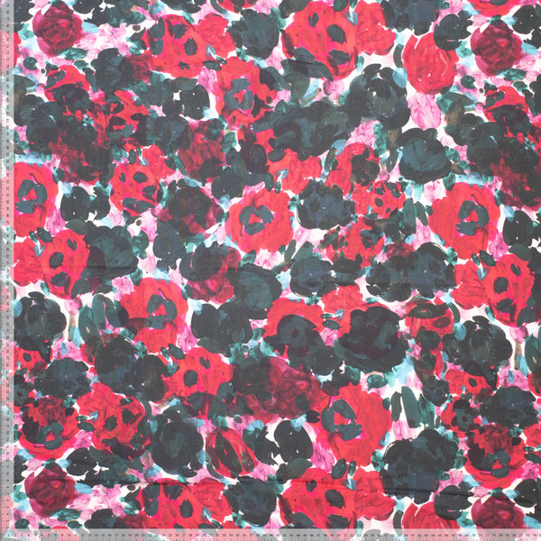 Viscose stof met digitale rozenprint