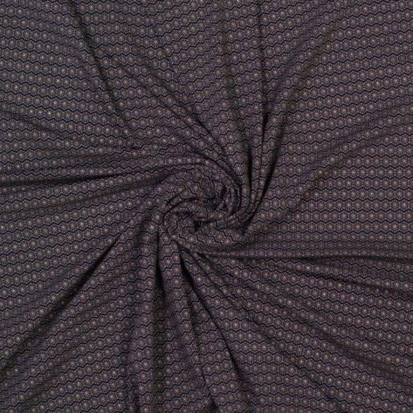 Tricot stof met zeskant en gouden puntjes
