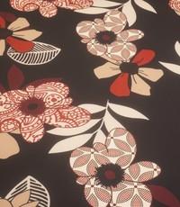 Poly stretch bruin met beige en rode bloemen