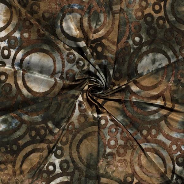 Jersey stof met opgelegd patroon van cirkels groen