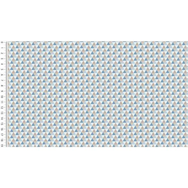 Katoenen stof  met mini driehoekjes blauw