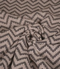 Gebreide stof grote zigzag beige met zwart