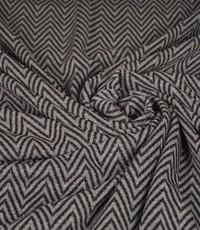 Gebreide stof zigzag grijs en blauw