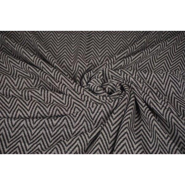 Gebreide stof zigzagmotief grijs en blauw
