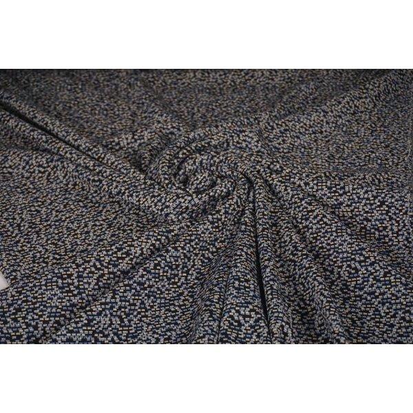 Gebreide stof zwart met jeanskleur en zilveren lurex