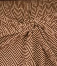 Gebreide stof zigzag bruin