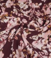 Viscose aubergine met roze bloemen