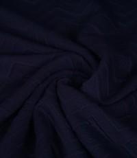 Gebreid effen blauw met zigzag patroon