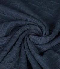 Gebreid effen jeansblauw met zigzag patroon
