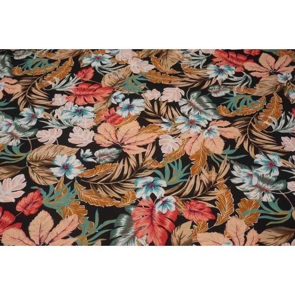 Poly tricot stof met zalm- en bruintinten