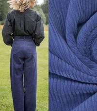 Ribfluweel hoog-laag kobaltblauw