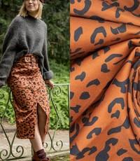 Leopard denim bruin met zwart