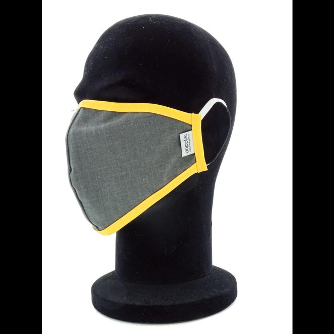 Mondmasker Grijs/Geel (Wasbaar)