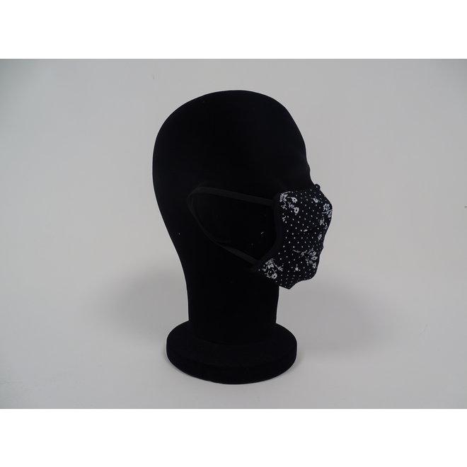 Kinder mondmasker bloemen zwart/wit (Wasbaar)