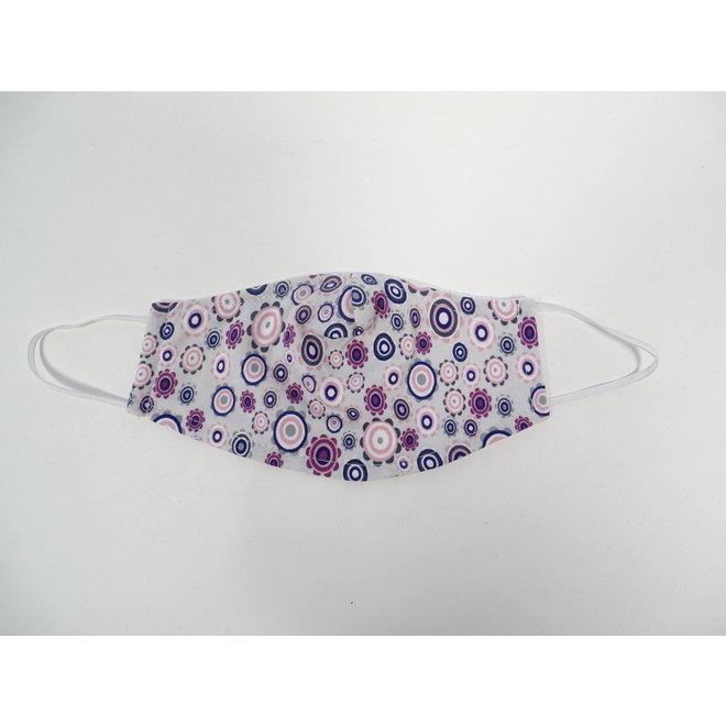 Kinder mondmasker bloemetjes roze/wit (Wasbaar)