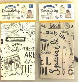 Pika Pika Japan Printed plastic drawstring bag L monotone