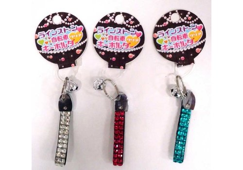 Rhinestone bicycle key chain clear
